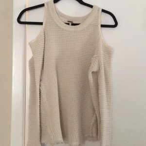 Free People Ivory Cold Shoulder Sweater